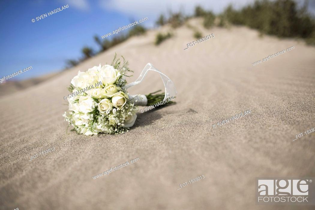 Stock Photo: Rose bouquet on sandy beach.