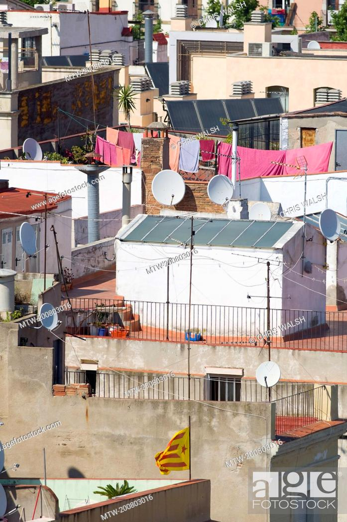 Stock Photo: Rooftops apartment crowded Buildings slums.
