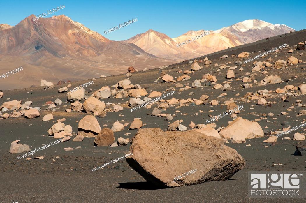 Stock Photo: Volcanic landscape in Parinacota volcano. Sajama National Park. Oruro Department. Bolivia.