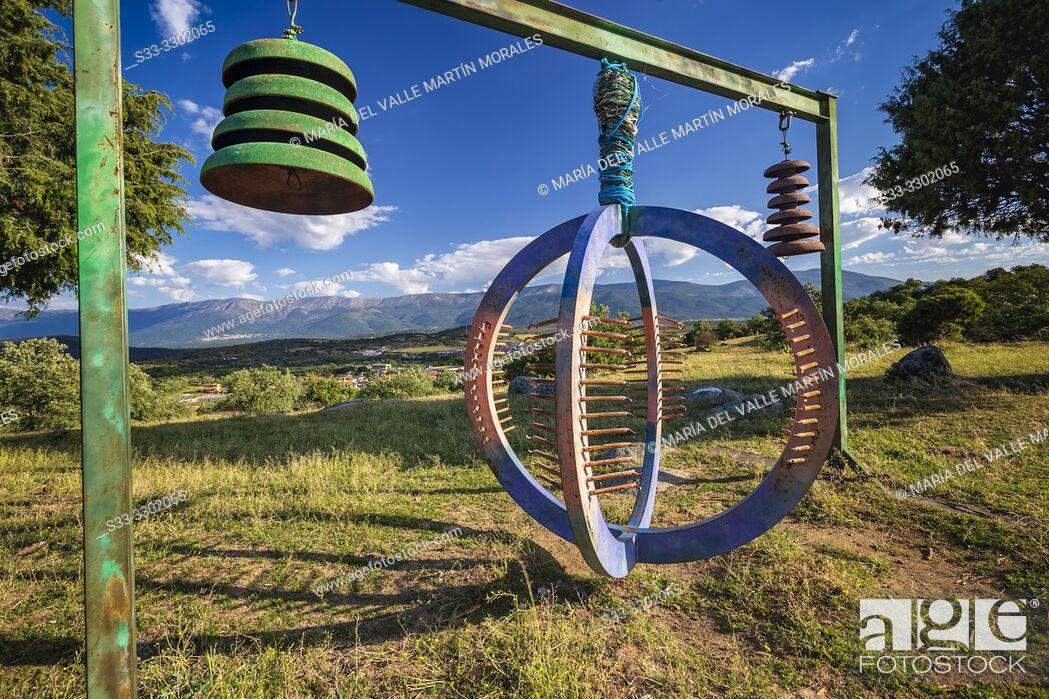 Stock Photo: Eco art in Higuera de las Dueñas. and Sierra de Gredos on the background. Avila. Spain. Europe.
