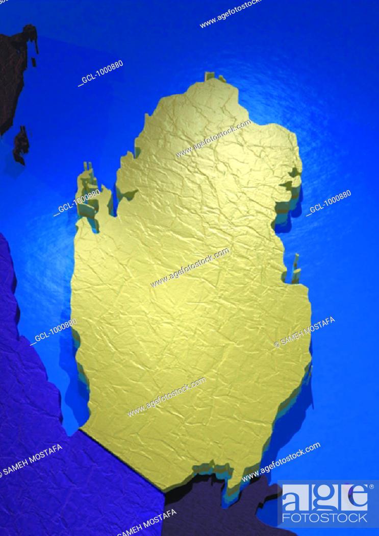 Stock Photo: map of Qatar.