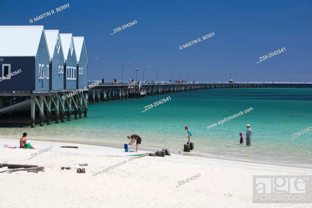 Stock Photo: busselton jetty, longest wooden jetty in the southern hemisphere, western australia.