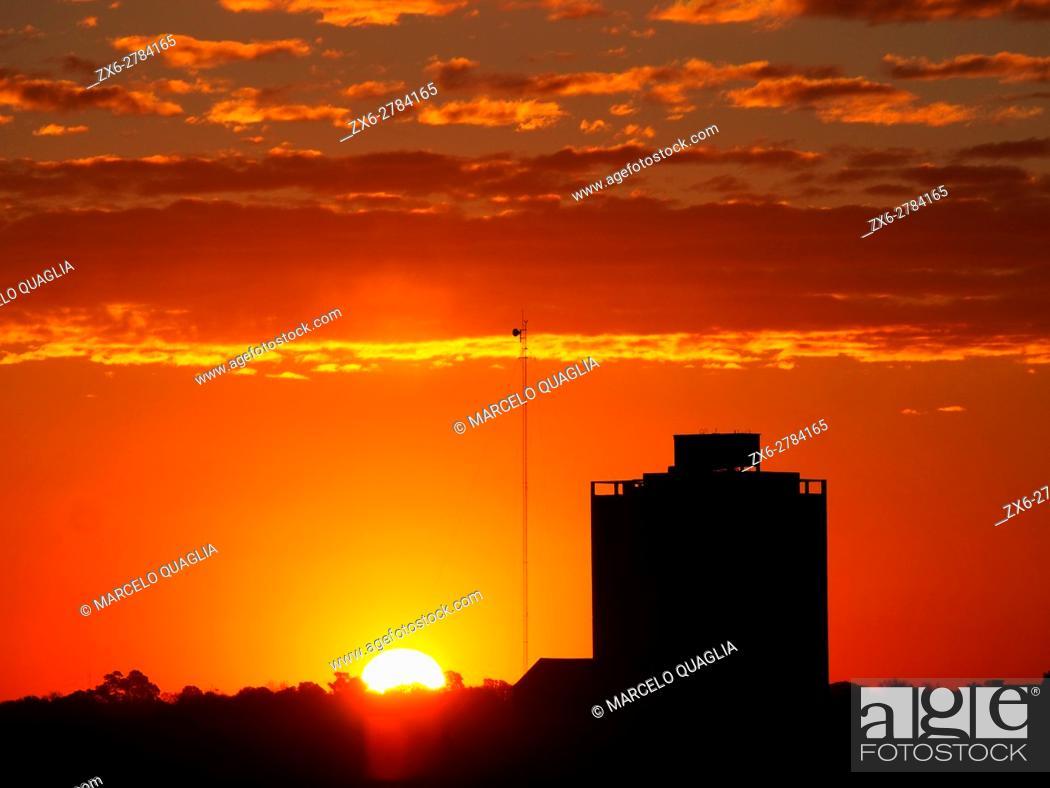 Stock Photo: Sunset at Buenos Aires Metropolitan Area, Argentina.