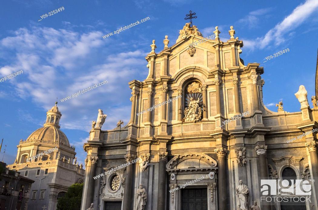Stock Photo: Saint Agathe Cathedral and Badia di Sant'Agata's dome, Catania, Sicily, Italy.