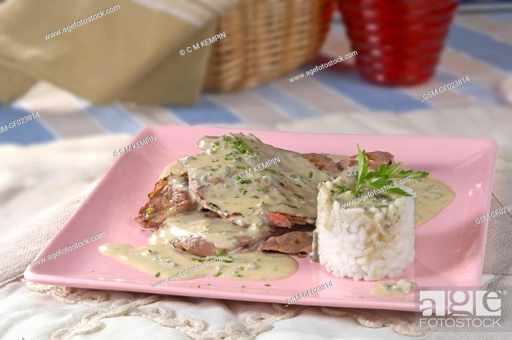 Stock Photo: Scaloppini cutlets with blue cheese.