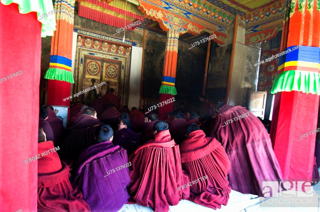Stock Photo: Religious studies at Labrang monastery in Xiahe, China.