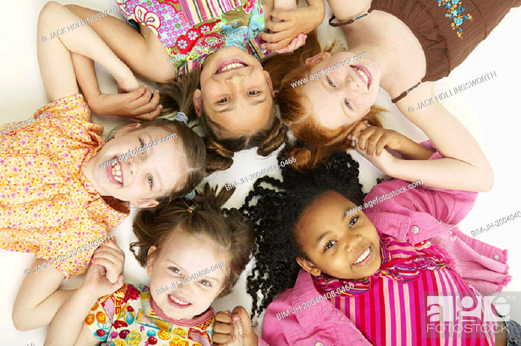 Stock Photo: Portrait of girls in circle.