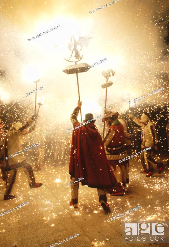 Stock Photo: 'Diables', local dancers. Santa Tecla festival. Tarragona. Spain.
