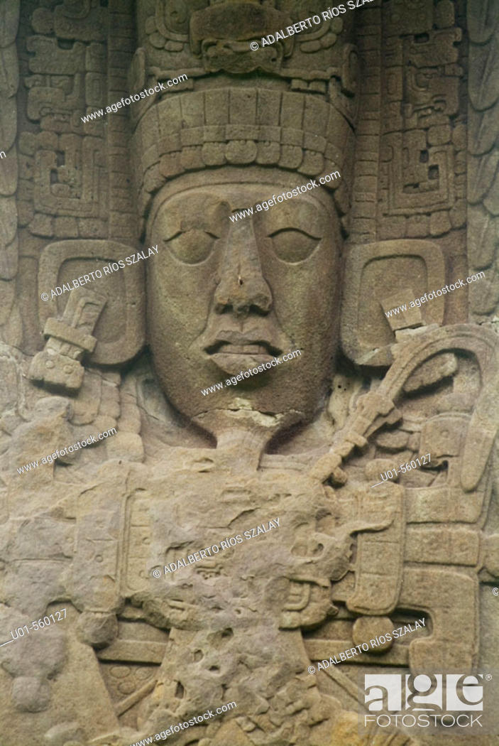 Stock Photo: Stele of Mayan Dignitary, Quirigua Guatemala.