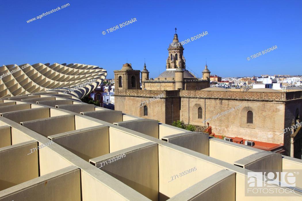 Stock Photo: Spain, Andalusia, Seville, Metropol Parasol, Las Setas, Iglesia de la Anunciacion,.