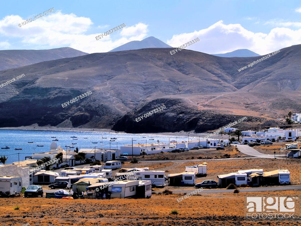 Stock Photo: Landscape of the island Lanzarote, Canary Islands, Spain.