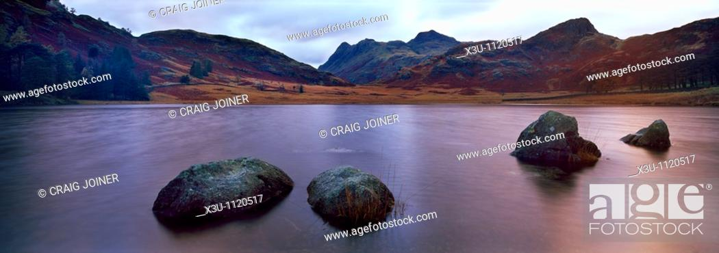 Stock Photo: Blea Tarn and the Langdale Pikes near Little Langdale in the Lake District National Park, Cumbria, England, United Kingdom.