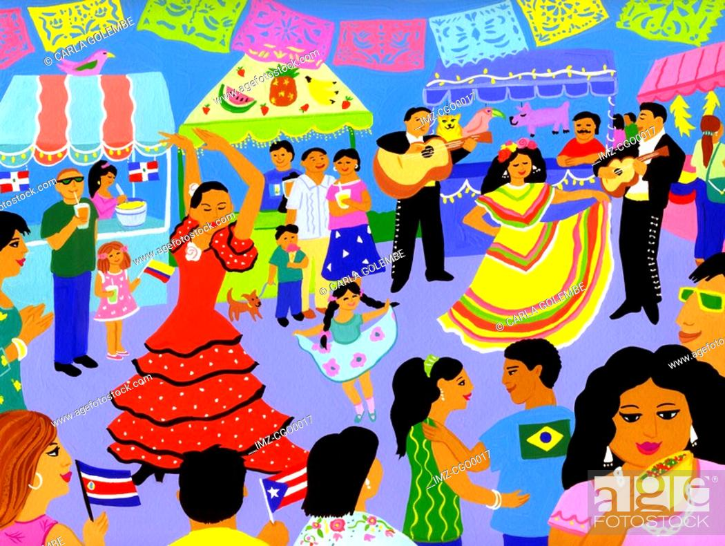Stock Photo: A Latin American street festival.