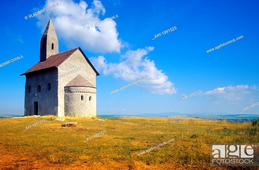 Stock Photo: Romanesque chapel dedicated to Saint Michael the Archangel, Drazovce pri Nitre, Slovakia.