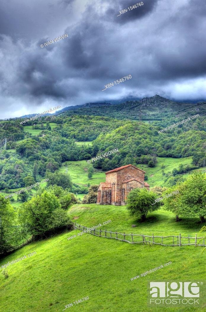 Stock Photo: Church Santa Cristina de Lena 9th century, Asturias, Spain.
