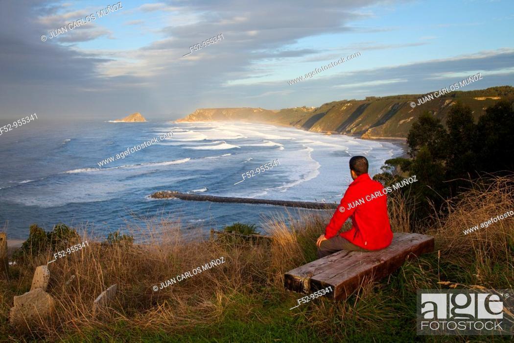 Stock Photo: Playa de los Quebrantos from the Mirador del Espíritu Santo.. San Esteban de Pravia. Asturias. Spain.