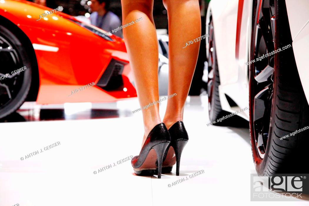 Stock Photo: Geneva motor show , feature , girl , hostess.