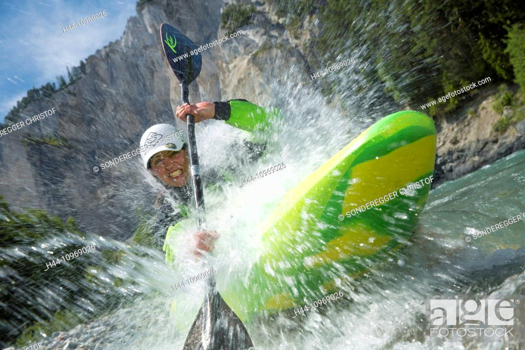 Stock Photo: Rhine gulch, water sport, Versam, GR, river, flow, body of water, water, gulch, canton, GR, Graubünden, Grisons, Rhine, Vorderrhein, ruin alta, water sport.