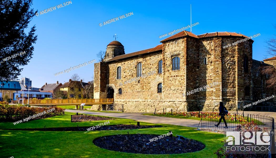 Stock Photo: Colchester Castle, Essex, England now houses the Castle Museum featuring exhibits from Roman Colchester.