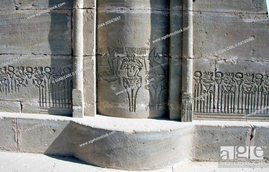 Stock Photo: Dendera Egypt, ptolemaic temple dedicated to the goddess Hathor. Carvings on the mammisi.