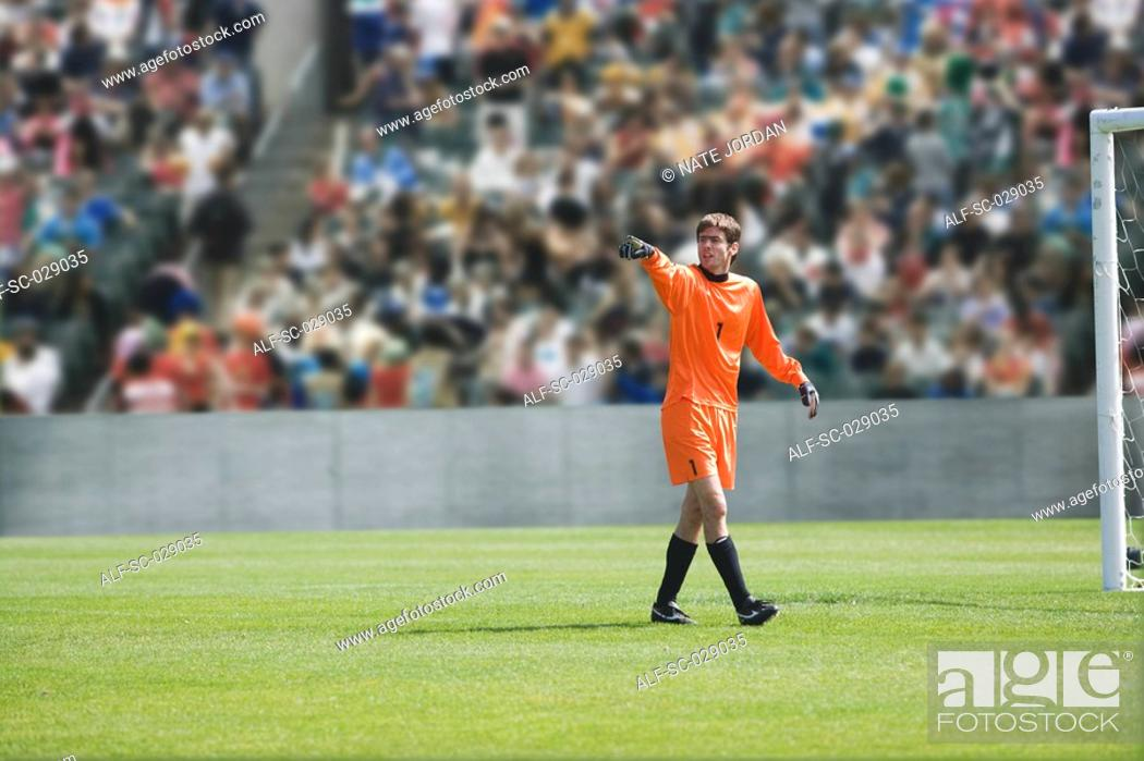 Stock Photo: Goalkeeper Pointing.