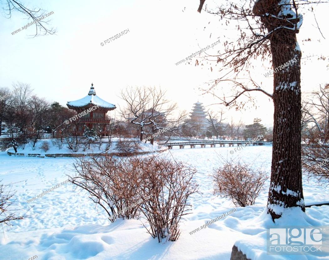 Stock Photo: temple, landscape, snowscape, winter, snow, tree, nature.