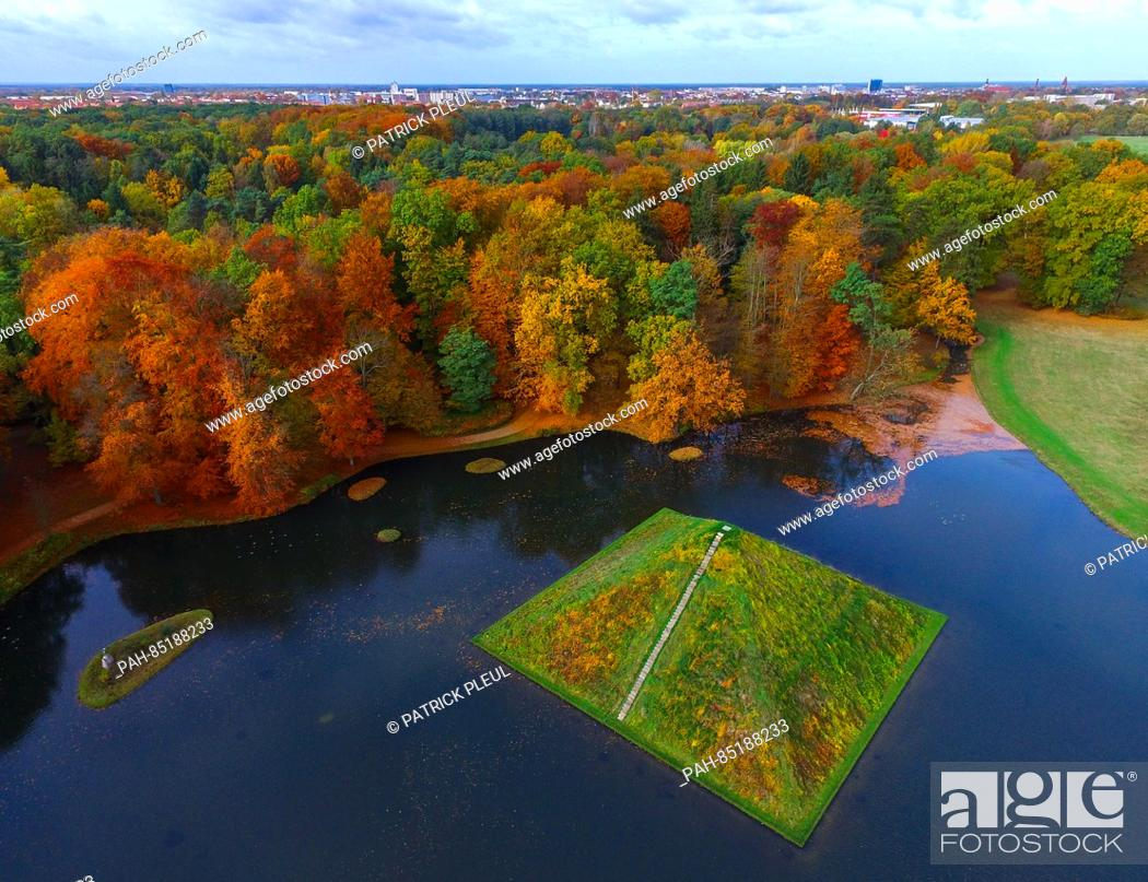Stock Photo: An aerial photo with a drone shows the lake pyramid in autumnal Fuerst Pueckler Park near Cottbus, Germany, 29 October 2016.
