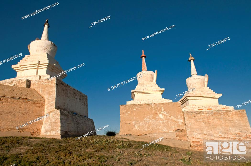 Stock Photo: chedis at Kharakorim Monastery in Central Mongolia.
