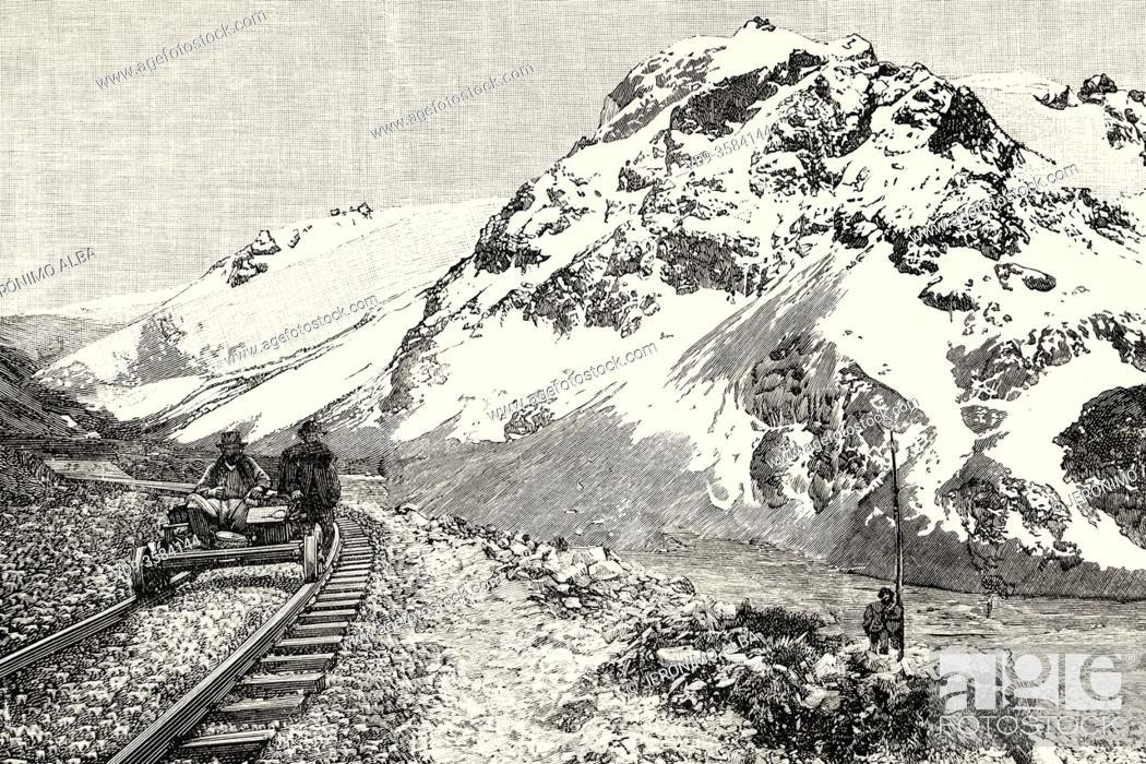 Stock Photo: Works on the Collado to Oroya railway through the Andes mountains, Peru. South America. Old XIX century engraved illustration from La Ilustracion Española y.