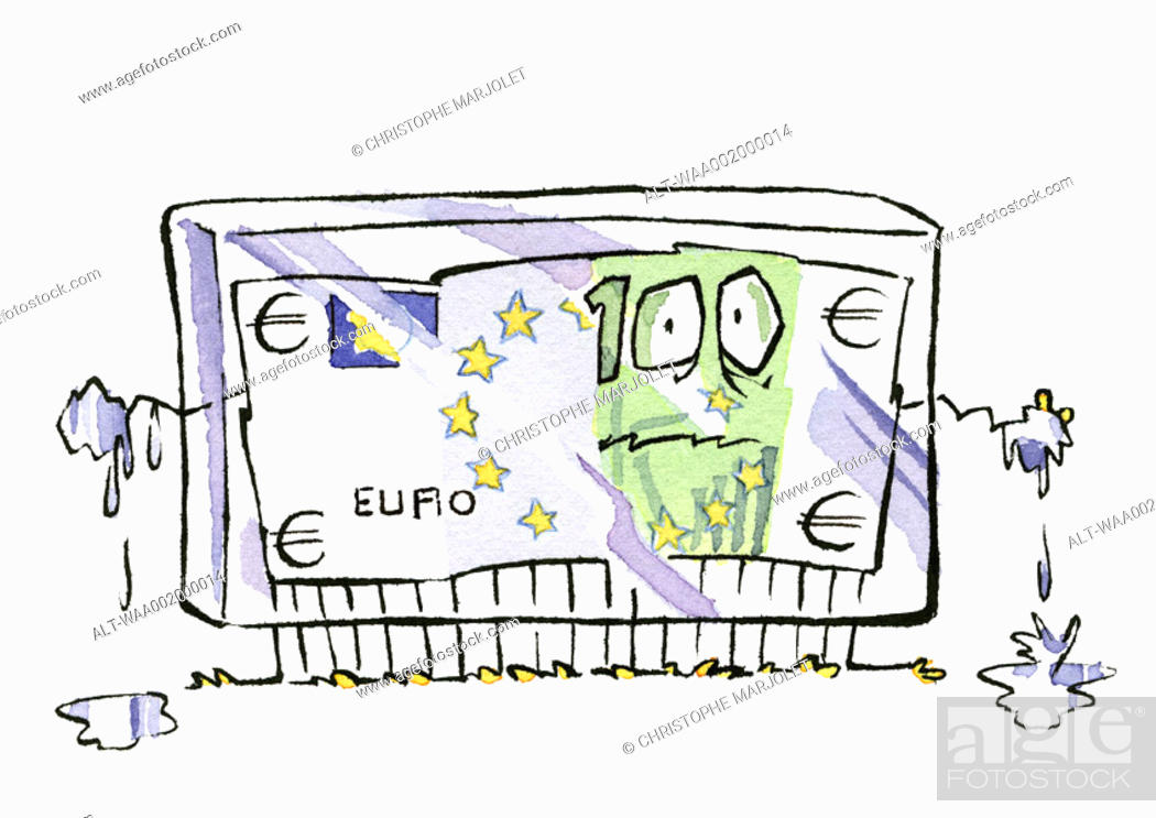 Stock Photo: Frozen euro bill.