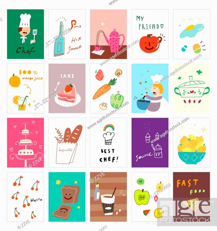 Stock Photo: Various dishes postcard.