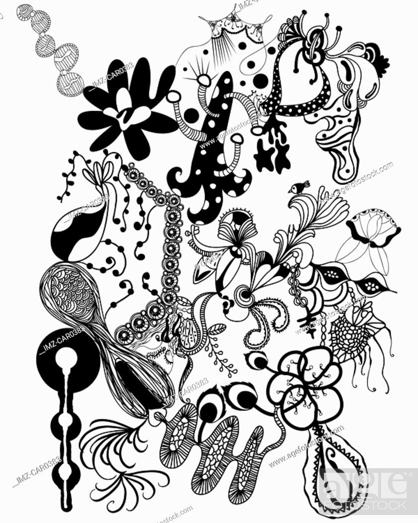 Stock Photo: Black and white abstract floral pattern.