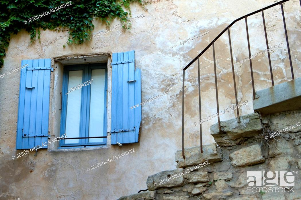 Stock Photo: House of Gordes village, labeled The Most Beautiful Villages of France, Vaucluse department, Provence-Alpes-Cote d'Azur region. France.