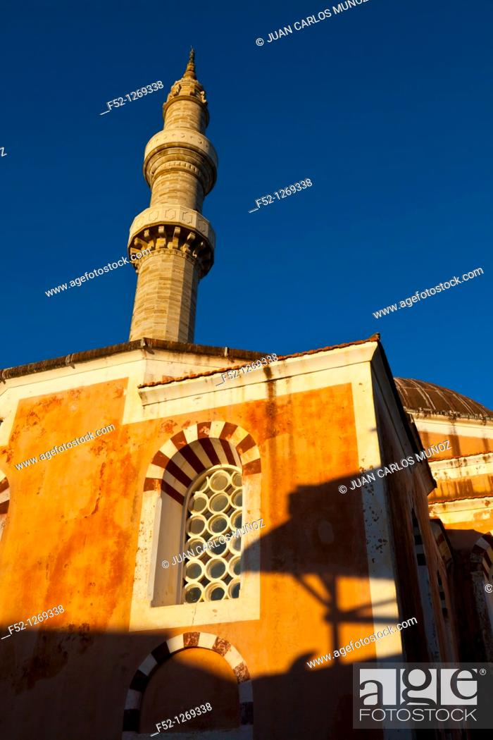 Stock Photo: Mosque of Soleiman the Magnificent in the medieval city, Rhodes Town, Rhodes Island, Dodecaneso, Greece, Mediterranean Sea.
