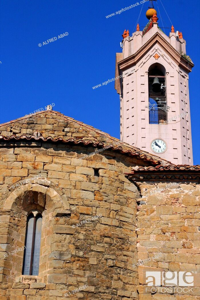 Stock Photo: bell tower of the church of Sant Julià, Verges, Girona, Catalonia, Spain.