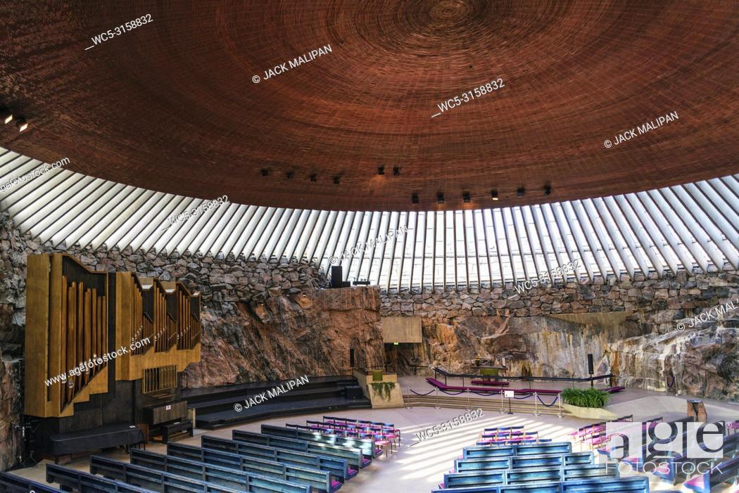 Stock Photo: Temppeliaukio rock church famous modern architecture landmark interior in helsinki finland.