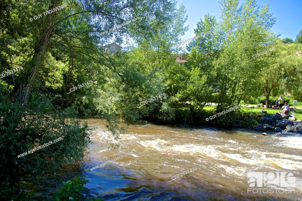 Stock Photo: Senouire river, at Lavaudieu, 43, Auvergne, Haute Loire, France.