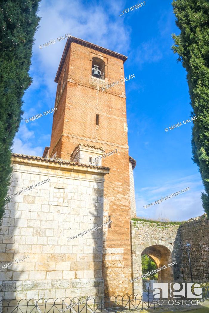 Stock Photo: Tower of San Torcuato church. Santorcaz, Madrid province, Spain.