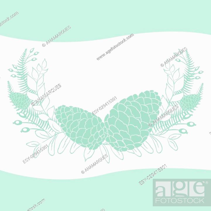 Stock Vector: Pine cones set. Frame wreath. Larch branches with cones. Invitation card. Wedding invitation. Greeting card. Pine decorative elements for your design.