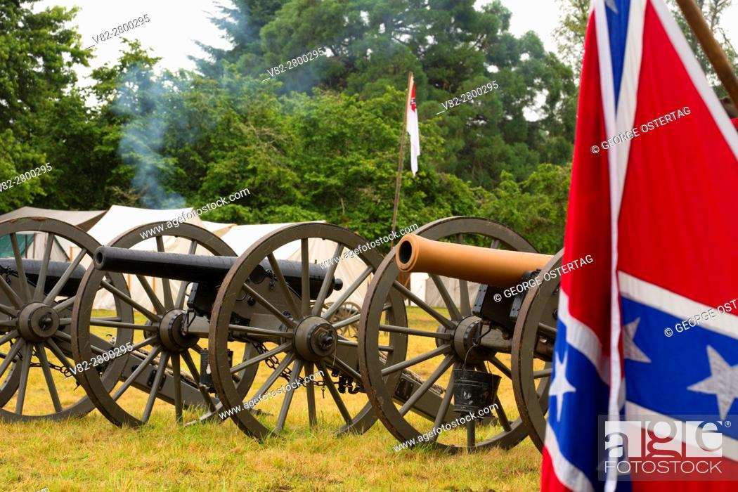 Stock Photo: Confederate camp cannons with Confederate flag, Civil War Reenactment, Willamette Mission State Park, Oregon.
