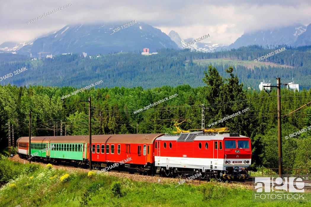 Stock Photo: train in Vysoke Tatry, Slovakia.