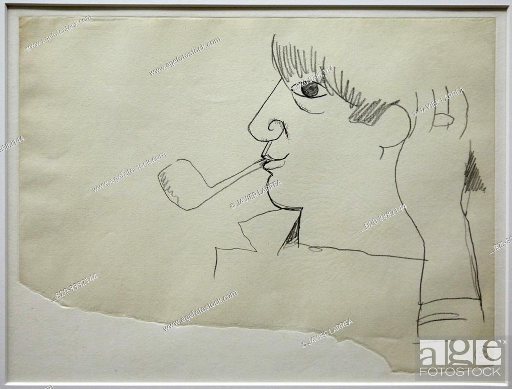 """Stock Photo: """"Portrait de Picasso"""", 1917, Jean Cocteau, Picasso Museum, Paris, France, Europe."""