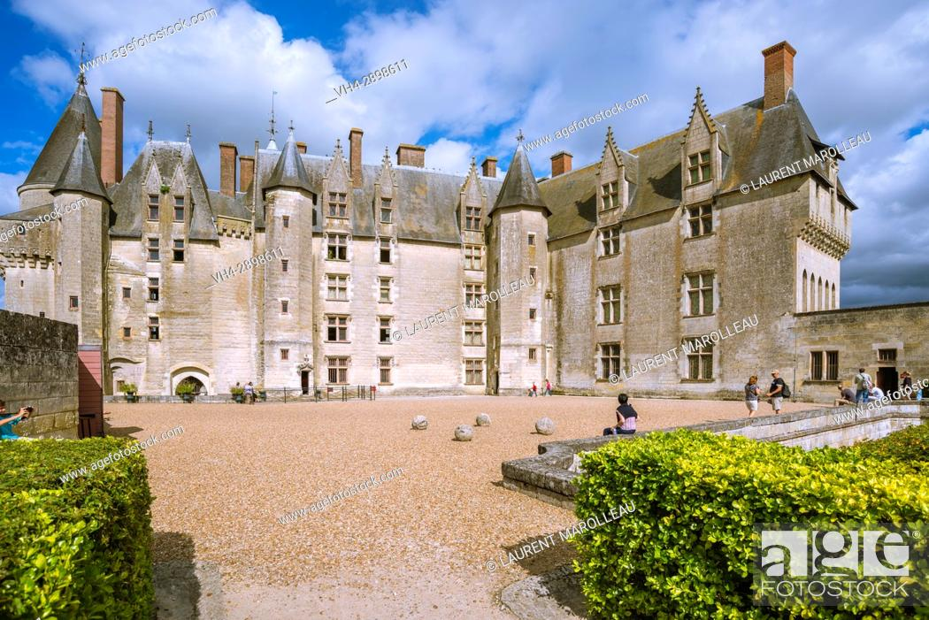 Stock Photo: View from the Garden of the Castle of Langeais, Indre-et-Loire, Centre region, Loire valley, France, Europe.