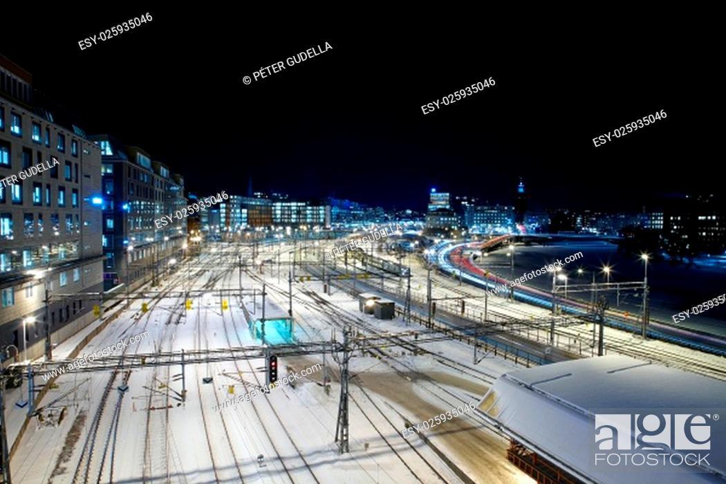 Stock Photo: Urban railway station at night. (Stockholm, Sweden).
