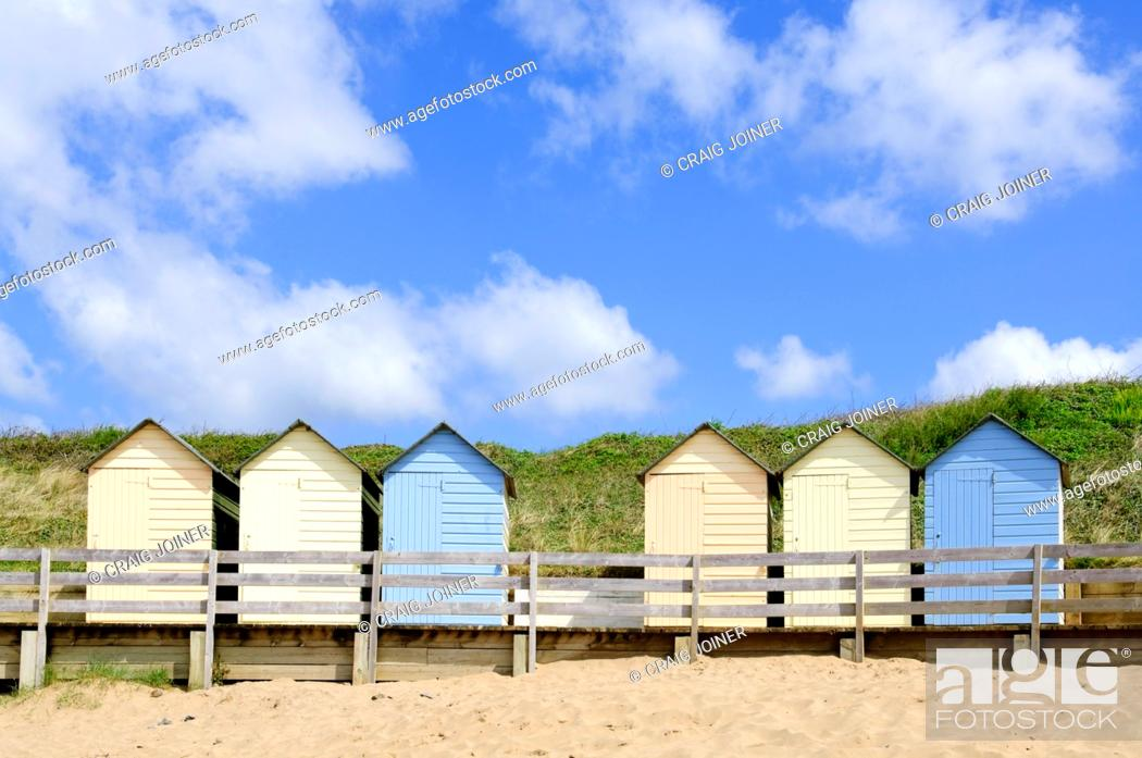 Stock Photo: The beach huts at Summerleaze Beach, Bude, Cornwall, England, United Kingdom.