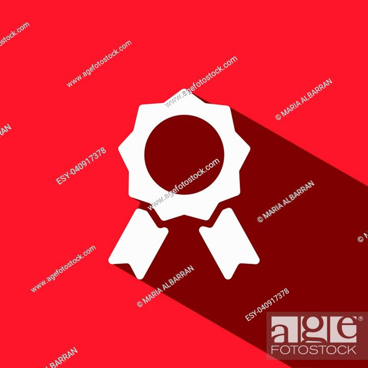 Stock Vector: Seal of authenticity with shadow on red background.