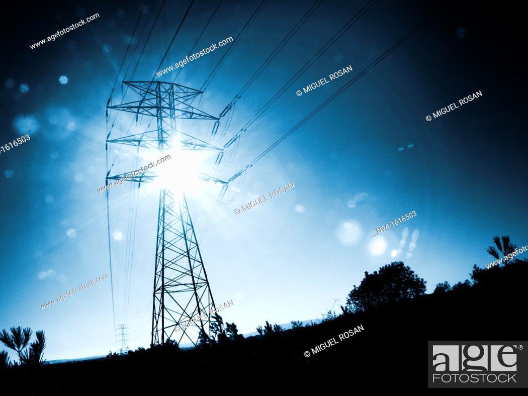 Stock Photo: Poste del entramado del suministro de energía eléctrica de la zona residencial La Cañada, Comunidad Valenciana España Europa Poste's network of electricity.