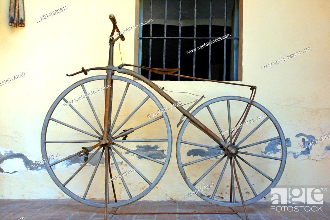 Stock Photo: old bicycle, Can Papiol Romantic Museum, Vilanova i la Geltrú, Catalonia, Spain.