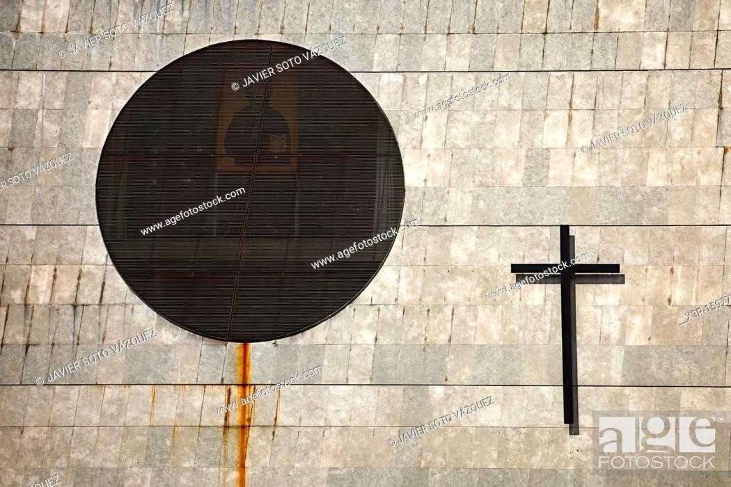 Stock Photo: Wall of a Christian church in Barcelone, Spain.