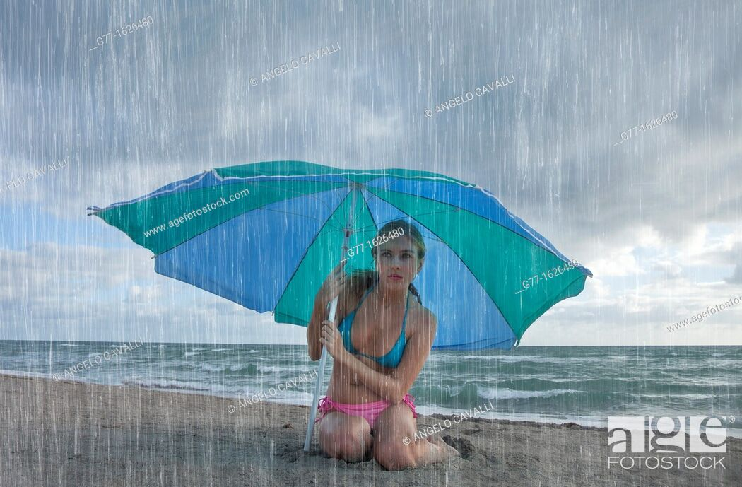 Stock Photo: Woman on the beach, Miami, Florida, USA.